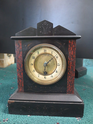 Antique French Onyx and Red Stone Clock