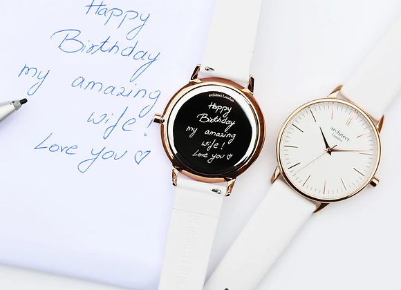 Ladies Architēct Blanc +Your Own Handwriting + White Strap