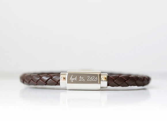 Twisted Personalised Leather Man's Bracelet + Your Own Handwriting