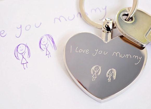 Hearts Forever Keychain With Handwriting Engraving
