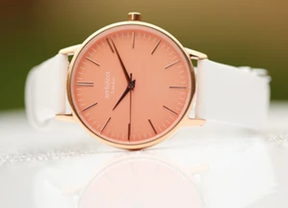 Ladies Architēct Coral +Your Own Handwriting + White Strap
