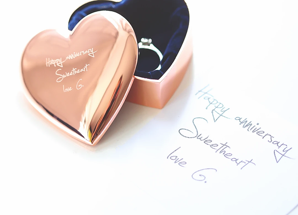 Personalised Little Heart Jewellery Box +Your Own Handwriting