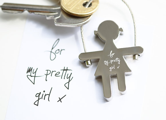 Sally Key Ring+ Your Own  Handwriting Engraved