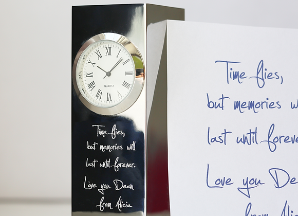 Vintage Standing Clock +Your Own Handwriting Engraved