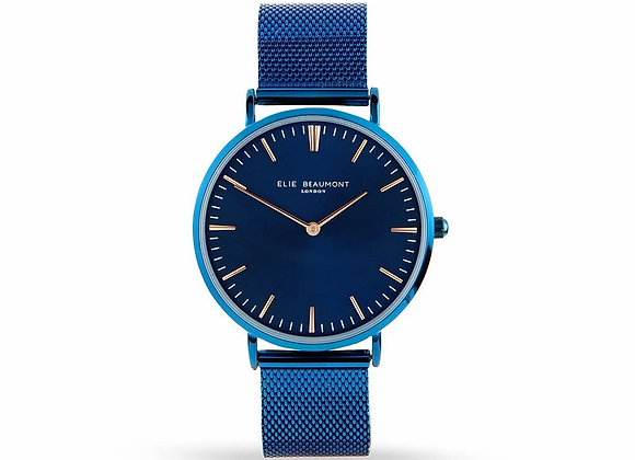 Elie Beaumont Engraved Watch Electric Blue +Your Own Handwriting