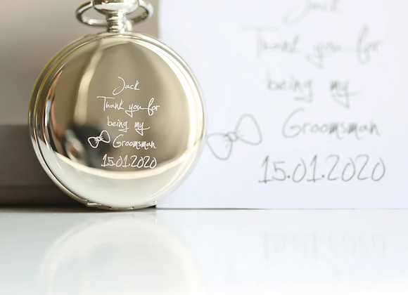Roman Skeleton Pocket Watch +Your Own Handwriting