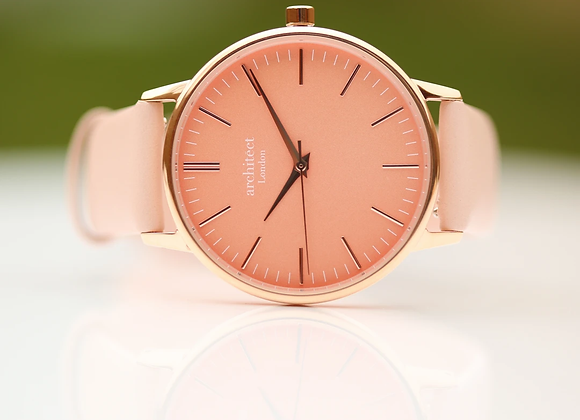 Ladies Architēct Coral +Your Own Handwriting + Light Pink Strap