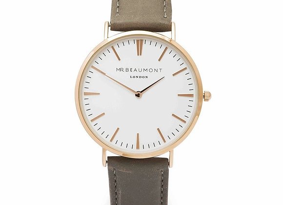 Mr Beaumont Men's Grey Gold Bezel Watch + Your Own Handwriting