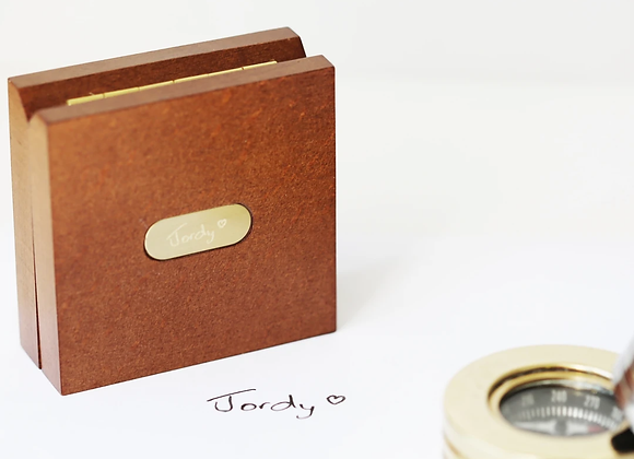 Personalised Compass  with Timber Box +Your Own Handwriting
