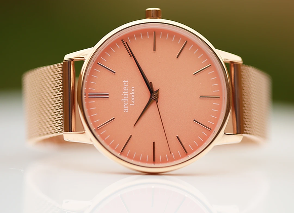 Ladies Architēct Coral +Your Own Handwriting + Rose Gold Mesh Strap