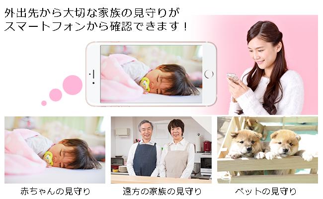 岡本PCでは格安でネットワークカメラの監視カメラを設置できます。赤ちゃんやペット、遠方の家族をスマホから見守りできます。