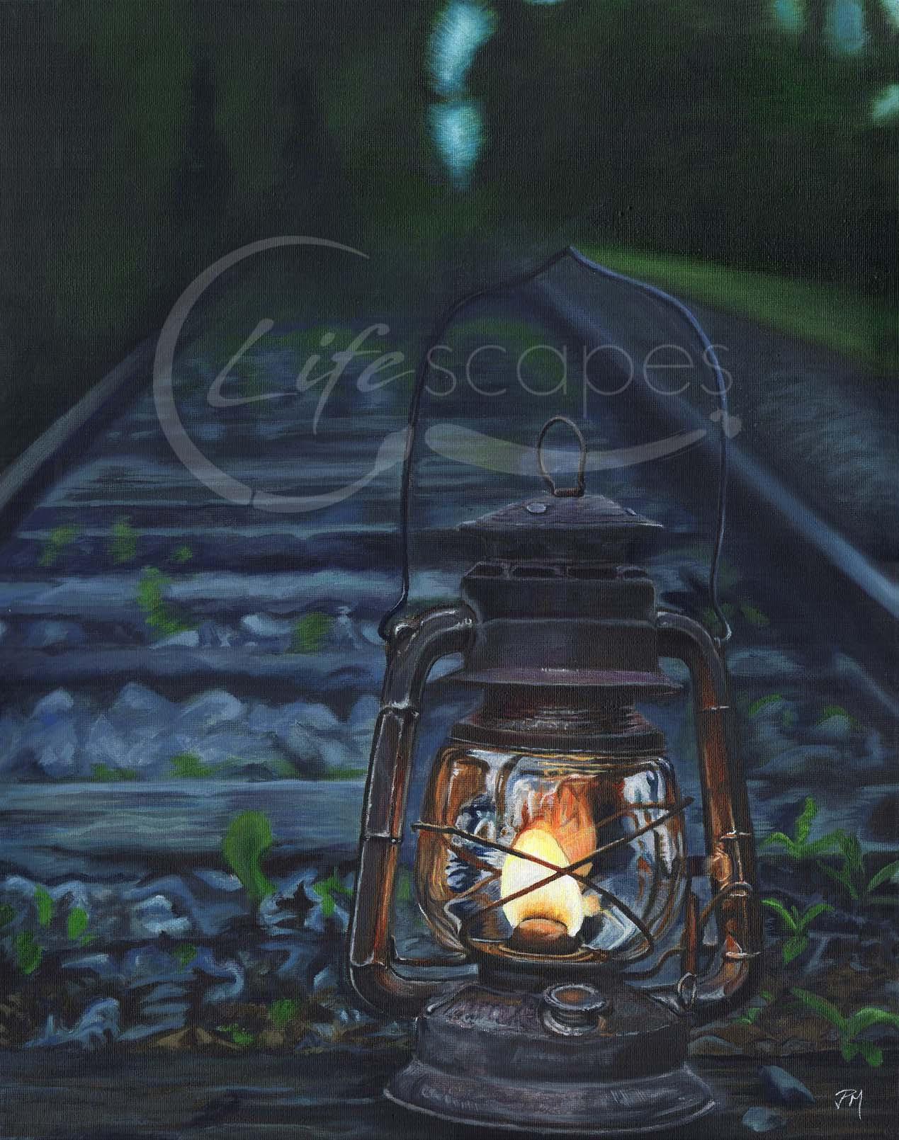 Lantern on a Railway Line at Night