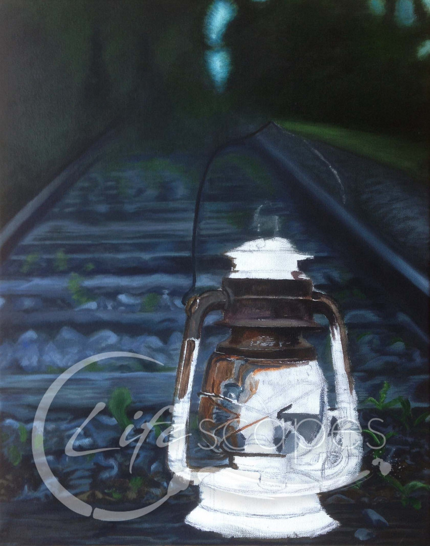 Lantern on Railway line at Night Part 3