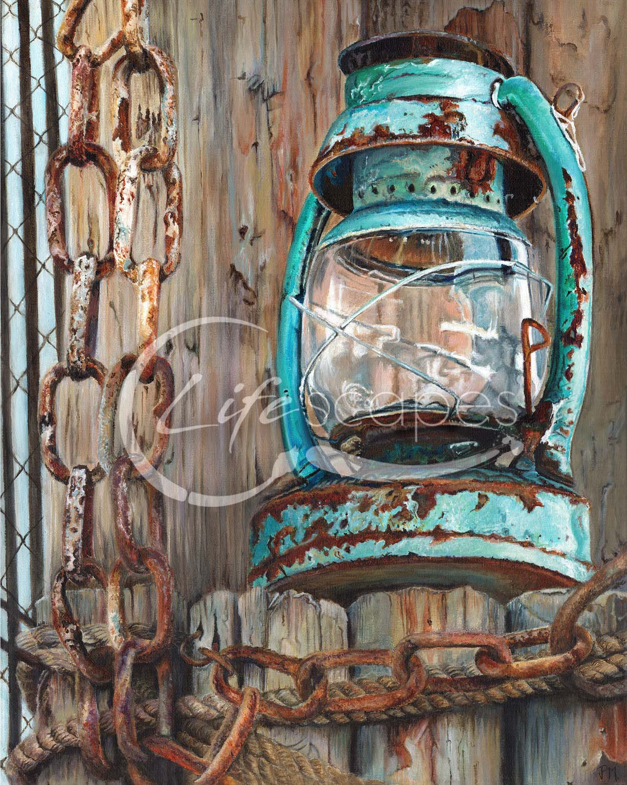 Lantern, Chains and Wood
