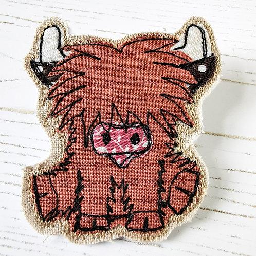 Highland Cow Fabric Brooch