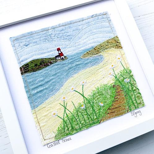 Original Textile Art - Coastal Scene with Lighthouse