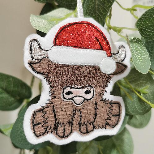 Highland Cow Christmas Tree Decoration - fabric