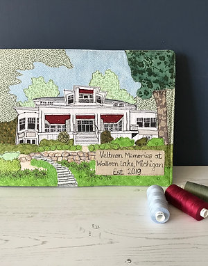 Personalised Visitors Book - Unique Applique and Embroidery Design on Linen