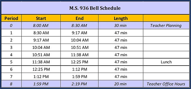 Schedule with time for all students to follow.