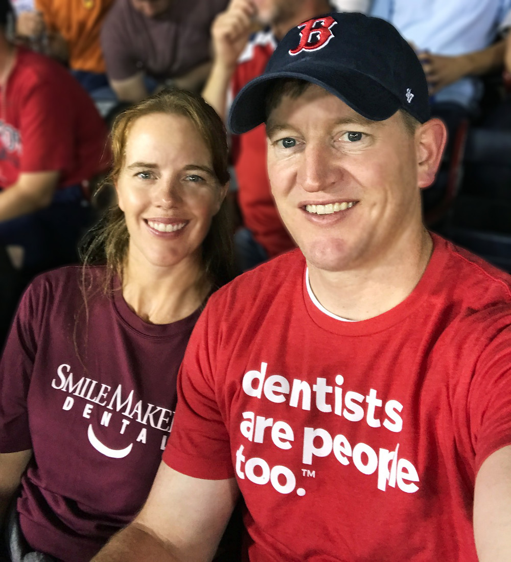 Dr. Paul Romriell and Janelle Romriell at Boston Red Sox Baseball Game