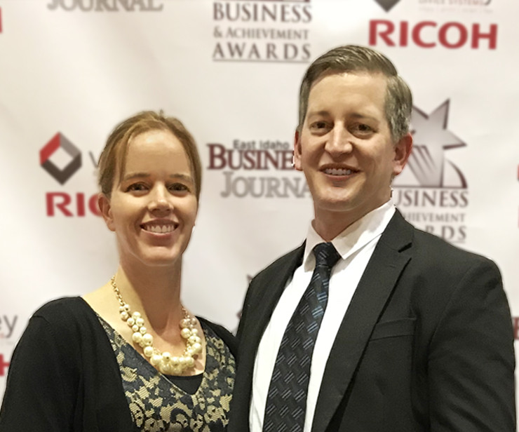 Dr. Paul Romriell and Janelle Romriell picture together at Idaho State Journal Business & Achievement Awards