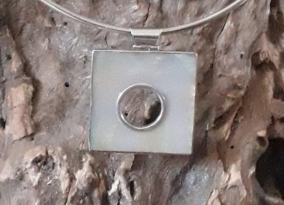 Silver square shell pendant