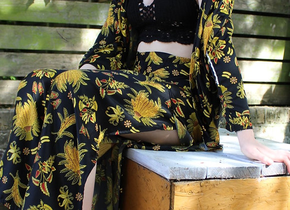 Silk Robe & split leg trousers