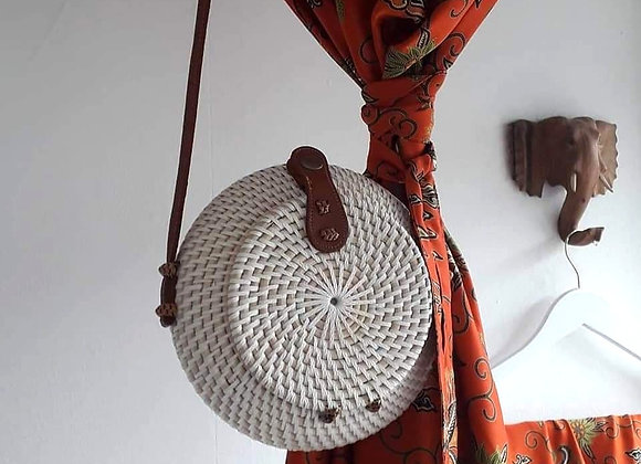 White Hand Woven Round Bag (Large)