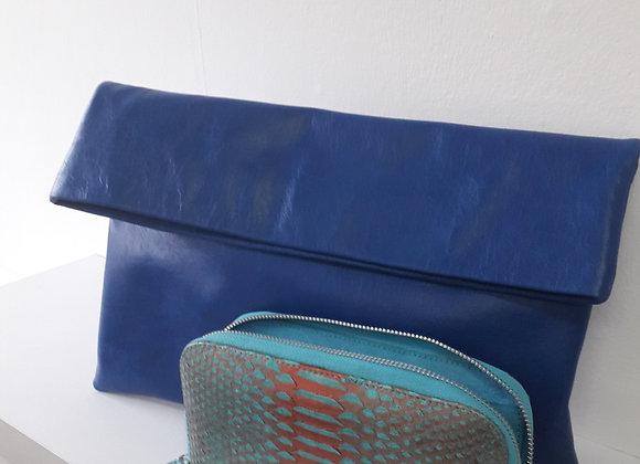 Blue leather fold over clutch bag
