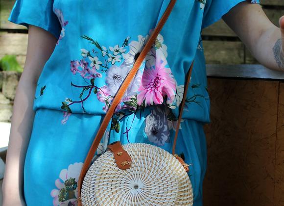 White handwoven round bag