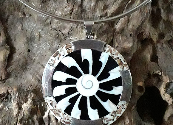 Black and white shell pendant
