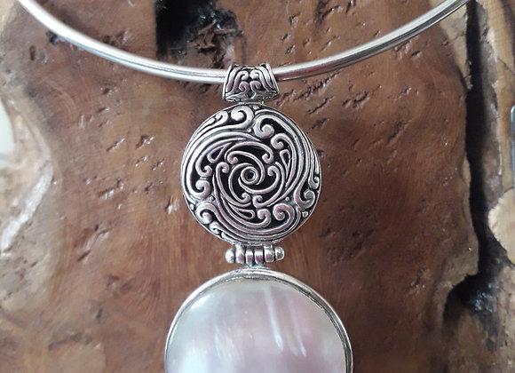 White rainbow shell pendant