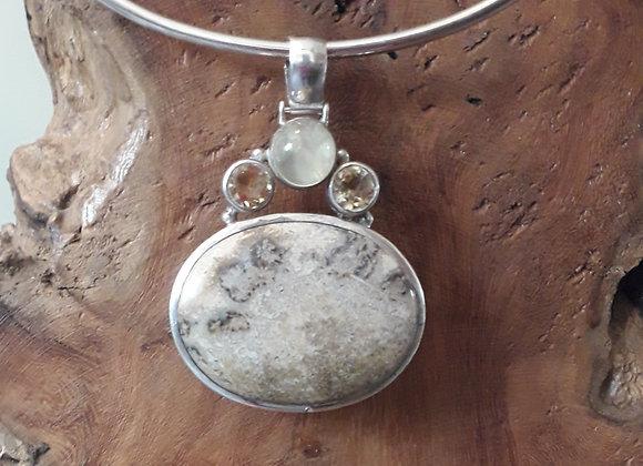 Chrysanthemum stone silver pendant