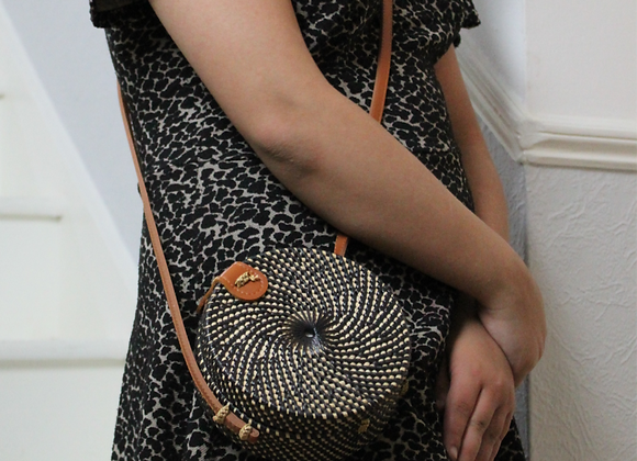 Small handwoven round bag