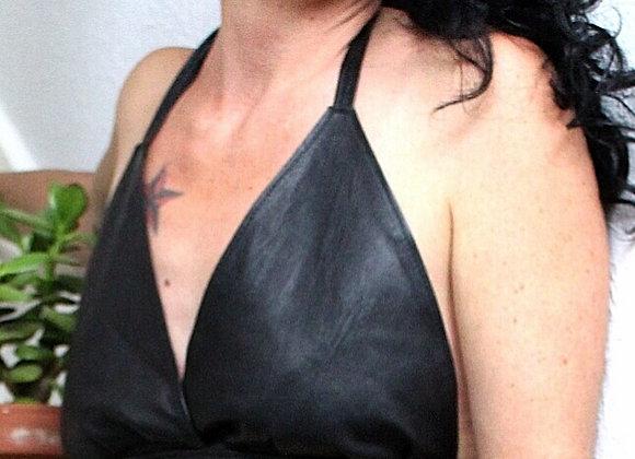 Leather Halter Neck Top