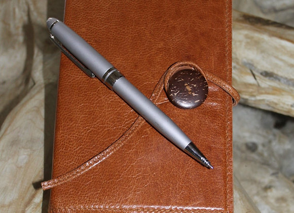 Refillable leather pocket notebook