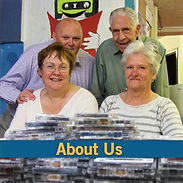 picture button for our About Us section. Picture shows 4 readers gathered in front of some cassettes