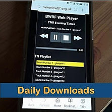 Clickable image for Daily Downloads showing BWBF player on a mobile phone