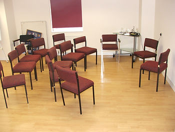 Chairs forming a circle reading to be hired at Bishopbriggs Media Centre