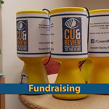 Fundraising Cans for Cue and Review Print Speaking to the Blind