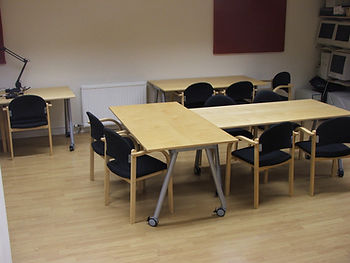 Table and chairs set up for a meeting at Bishopbriggs Media Centre