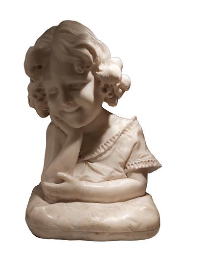 "1 statue en marbre blanc. ""Gluck"" de G.Biagiotti."