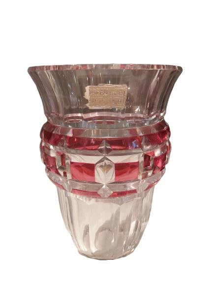 Vase art deco val st-Lambert rose.