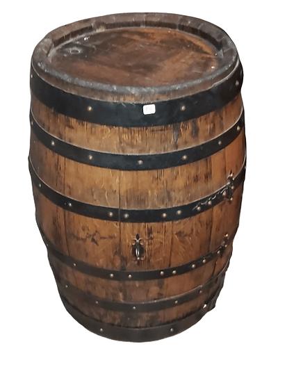 Tonneau en bois transformé en bar.