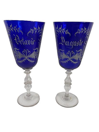 Vieux chenée XIX eme, paire de verres de mariés.