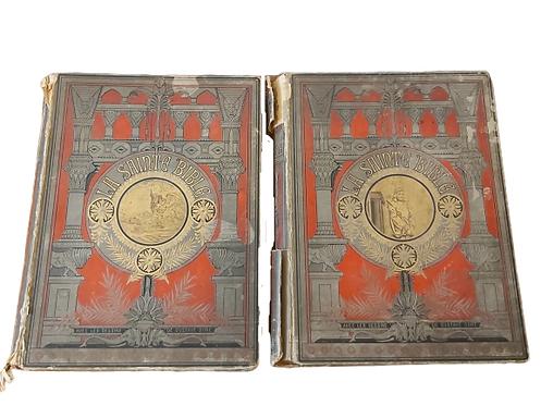 La sainte Bible de 1866 en deux tomes. dessins de G. Doré.