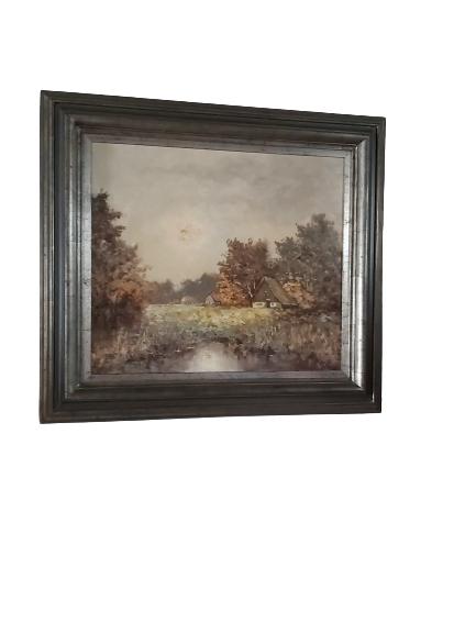 Paysage, huile sur toile signée.