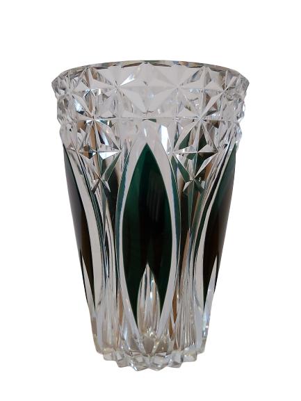 1 vase val st-Lambert doublé taillé vert.