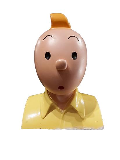Buste de Tintin en plâtre.