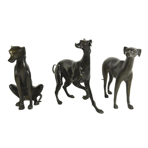 Trio de lévriers en bronze.